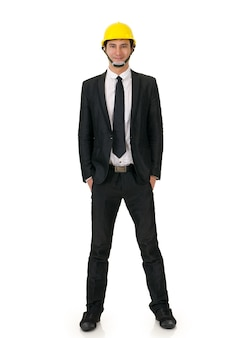 Portrait of you asian construction man with  on white background.