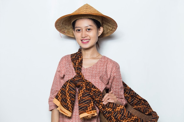 Portrait young asian female farmer on white background