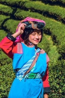 Portrait young asian lady akha tribe