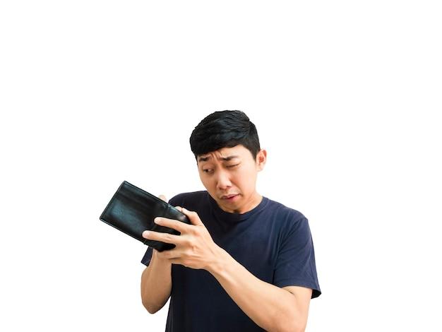 그의 지갑 검은 색 흰색 격리 배경에서 돈을 찾는 흥분 젊은 아시아 남자 초상화
