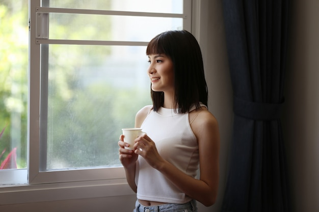 Portrait of young asian woman smiling