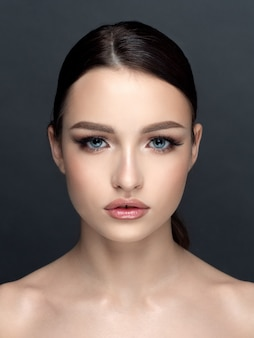 Portrait of young beautiful caucasian woman. cleaning skin, skincare, cosmetology concept