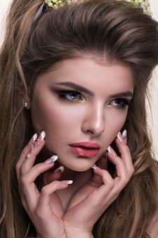 Portrait of young beautiful caucasian woman