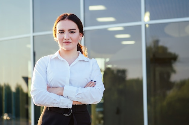 Portrait of a young beautiful indian woman businesswoman in office clothes