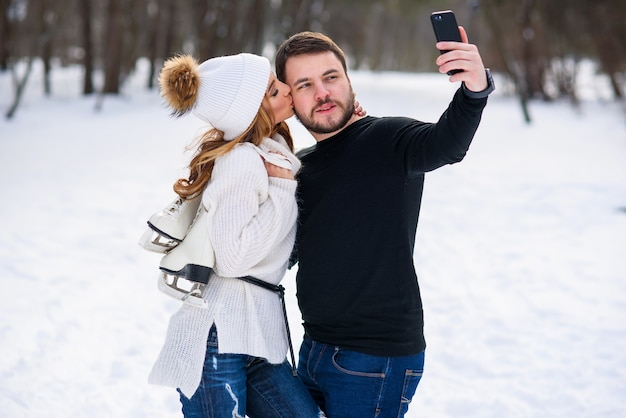 Portrait of a young couple in the park