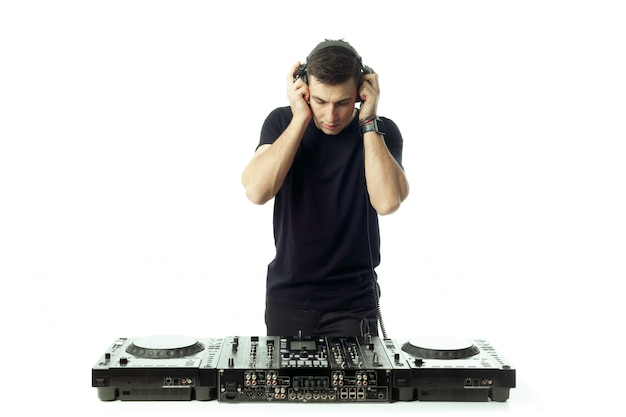 Portrait of a young dj isolated on white