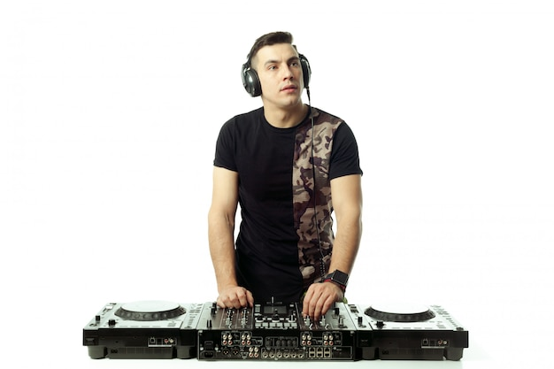 Portrait of a young dj isolated