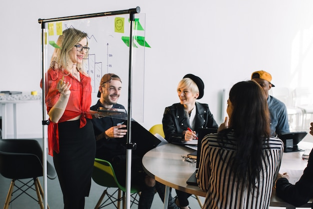 Portrait of young female team leader of talented freelances organizing work of members motivates and inspire them to make researching, standing near glass board in modern coworking space