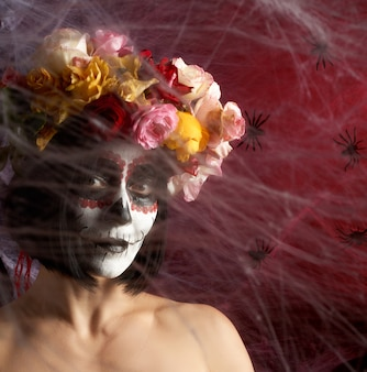 Portrait of a young girl with makeup  katrina for the holiday of the day of the dead