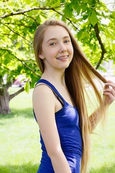 Portrait of a young girl with orthodontic appliance