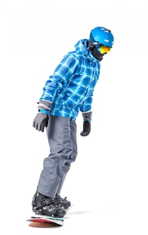 Portrait of young man in sportswear with snowboard isolated on white.