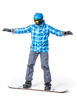 Portrait of young man in sportswear with snowboard isolated