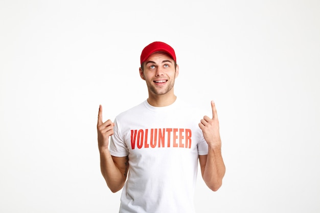 Portrait of a young man wearing volunteer t-shirt