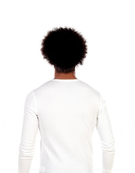Portrait young man with afro hairstyle posing back
