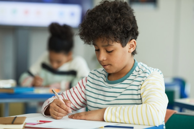 Portrait of young mixed-race boy sitting at desk in school classroom and writing, copy space