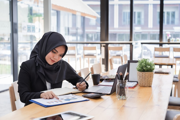 Portrait of young muslim business people wearing black hijab,working in coworking.
