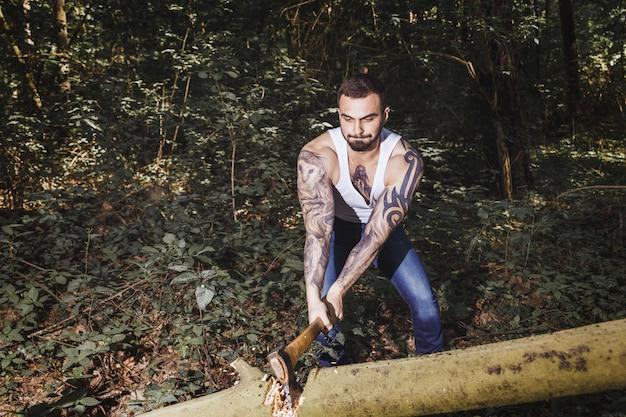 Portrait of young stylish lumberjack