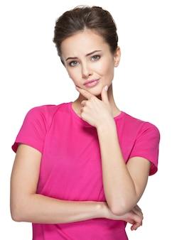 Ritratto di giovane donna pensante con qualche problema - isolato