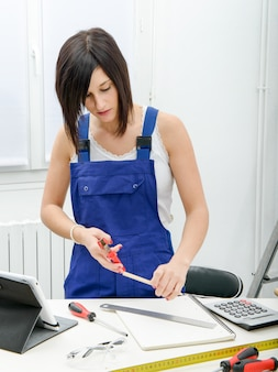 Portrait of young woman apprentice