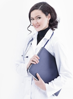 Portrait of a young woman doctor on a white background.photo with copy space