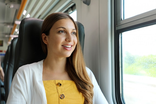 Portrait of young woman looking through the train window. happy train passenger traveling sitting in a seat and looking through the window.