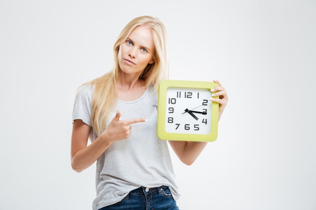 Portrait of a young woman pointing finger on wall clock isolated on a white wall