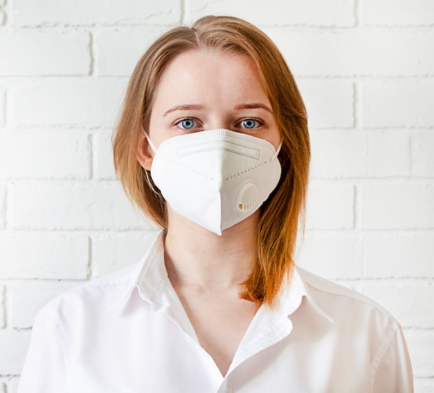 Portrait young woman in trendy medical face mask.