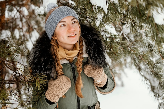 Portrait young woman on winter day
