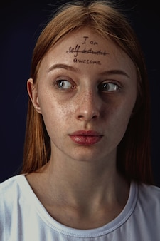 Portrait of young woman with mental health problems