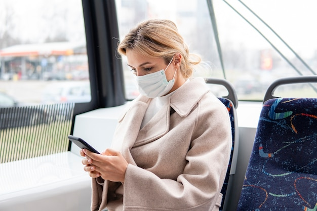 Portrait of young woman with surgical mask