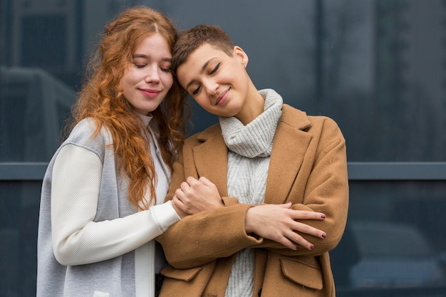 Portrait of young women together