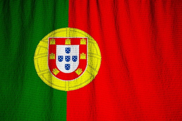 Portugal flag blowing in wind
