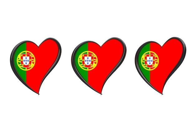 Флаг португалии внутри сердца. евровидение 2018 в португалии на белом фоне. 3d рендеринг