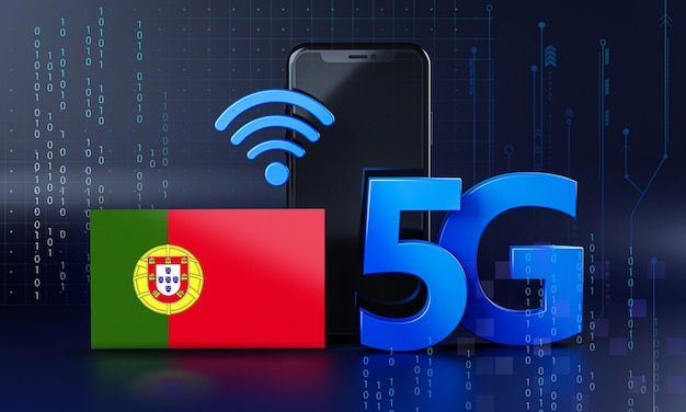 Portugal ready for 5g connection concept. 3d rendering smartphone technology background
