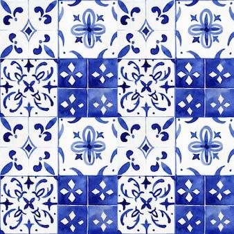ポルトガルのアズレージョタイル水彩のシームレスなパターン