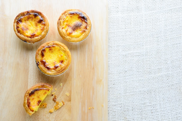 Portuguese egg tarts, is a kind of custard tart found in various asian countries,