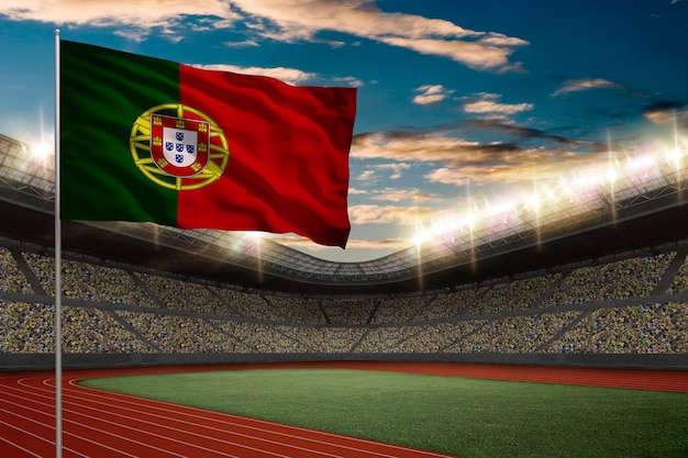 Portuguese flag in front of a track and field stadium with fans.