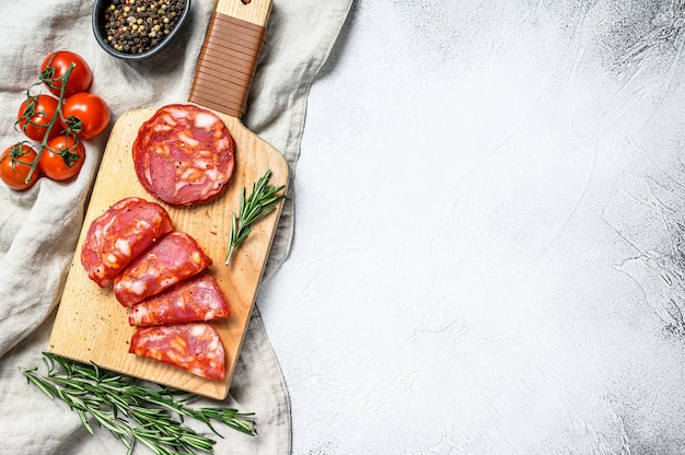 Portuguese traditional chorizo salami. gray background,. top view. space for text