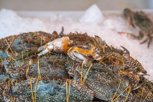 新鮮な生の海の花カニ(portunus pelagicus)プレミアムグレードのディスプレイ販売