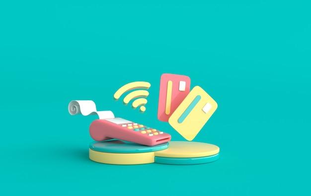 Pos-терминал, кредитная карта на подиуме, символ wi-fi. интернет-магазин и концепция доставки 3d визуализации
