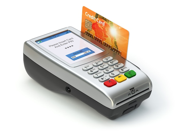 흰색 절연 신용 카드와 pos 터미널입니다. 지불. 3d