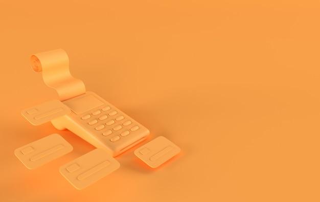영수증 신용 카드 렌더링 기능이있는 pos 단말기
