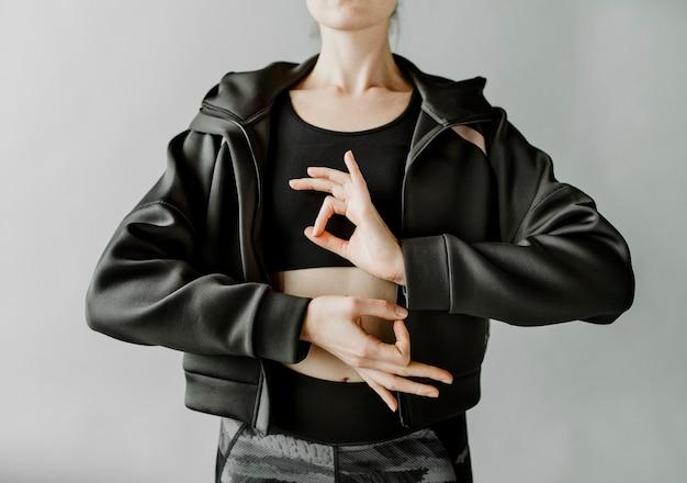 Posing in a studio shoot