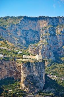 Positano, amalfi coast, campania, italy. beautiful view of positano along amalfi coast in italy in summer. morning view cityscape on coast line of mediterranean sea.