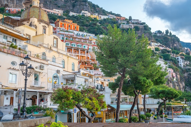 Positano, italy - 2 november, 2019: typical narrow street and colorful houses in city of positano, amalfi coast