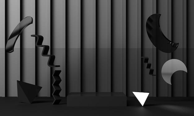 검정색 배경에 반짝이는 검정색 텍스처와 거울이 있는 기하학적 모양을 배치합니다. 3d 렌더링