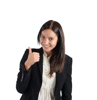 그녀의 작품에 대한 긍정적이고 웃는 사업가
