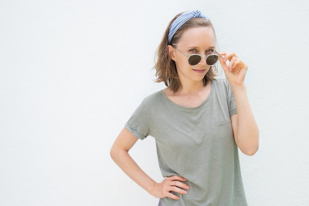 Positive beautiful woman wearing summer clothes