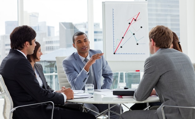 Positive business group having a meeting