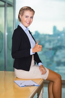Positive Confident Business Lady Showing Thumb Up